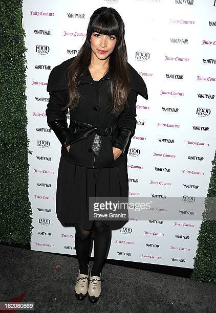 Hannah Simone arrives at the Vanity Fair And Juicy Couture Celebration Of The 2013 Vanities Calendar With Olivia Munn at Chateau Marmont on February...