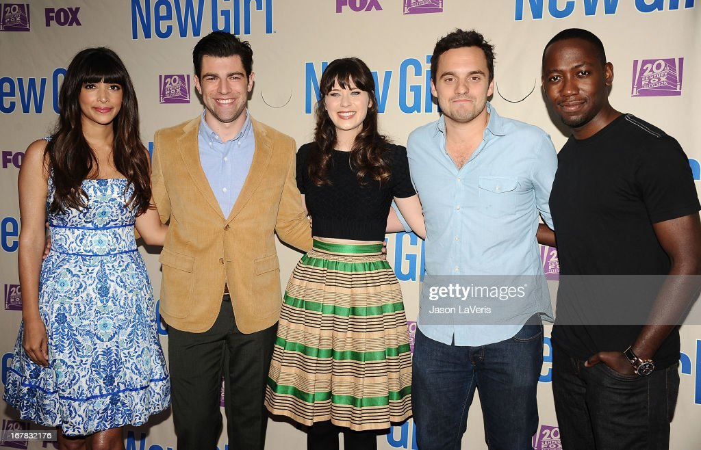 Hannah Simone, Max Greenfield, Zooey Deschanel, Jake M. Johnson and Lamorne Morris attend a screening and Q&A of 'New Girl' at Leonard H. Goldenson Theatre on April 30, 2013 in North Hollywood, California.