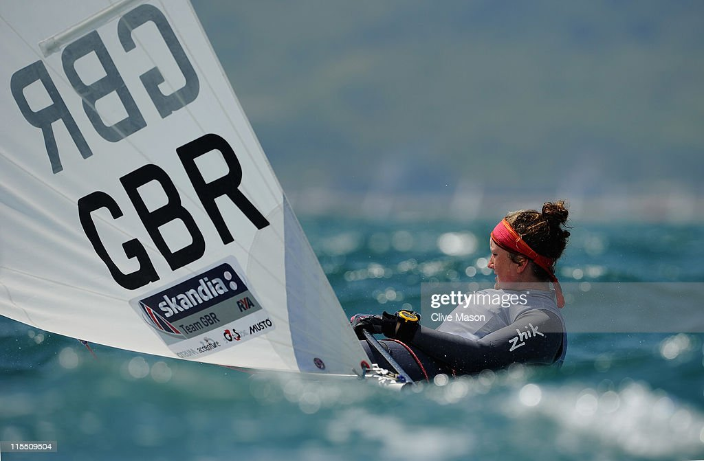Hannah Snellgrove of Great Britain in action during a Radial class race on day two of the Skandia Sail For Gold Regatta at the Wemouth and Portland National Sailing Academy on June 7, 2011 in Weymouth, England.