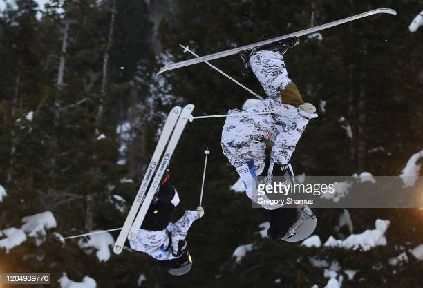 Hannah Soar of the United States competes against Kase Yogg of the United States during the Woman's Dual Moguls at the FIS Freestyle Ski World Cup at...