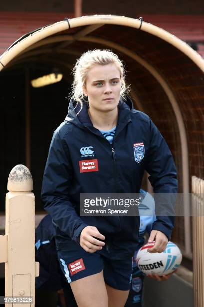 Hannah Southwell of the Blues walks onto the field during the New South Wales women's State of Origin captain's run at North Sydney Oval on June 21...
