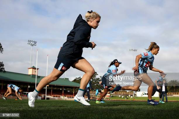 Hannah Southwell of the Blues warms up during the New South Wales women's State of Origin captain's run at North Sydney Oval on June 21 2018 in...