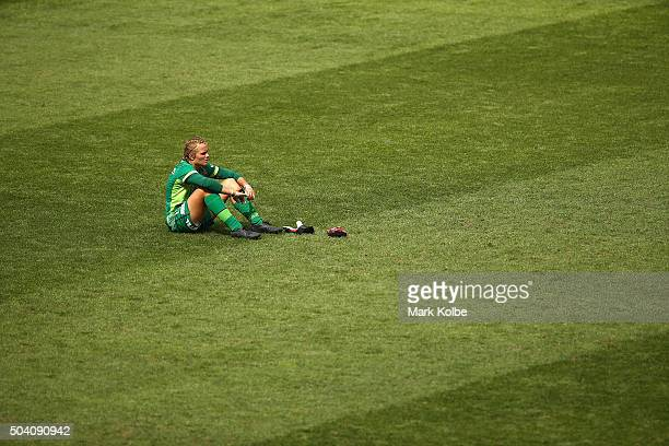 Hannah Southwell of the Jets looks dejected after defeat during the round 13 WLeague match between Sydney FC and the Newcastle Jets at ANZ Stadium on...