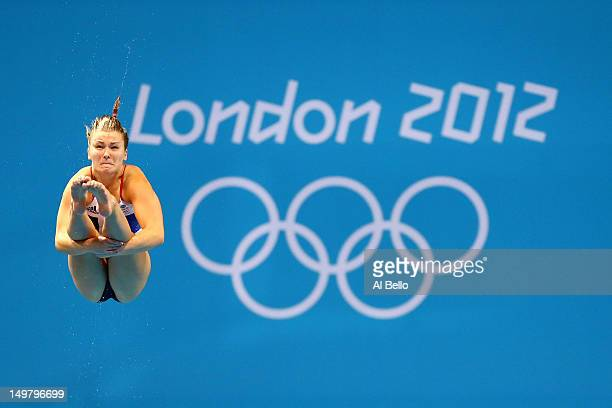 Hannah Starling of Great Britain competes in the Women's 3m Springboard Diving Semifinal on Day 8 of the London 2012 Olympic Games at the Aquatics...