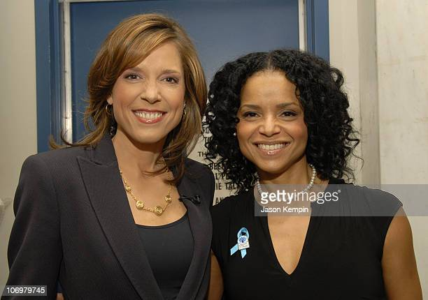 Hannah Storm and Victoria Rowell during Victoria Rowell Visits The Early Show For National Foster Care Awareness Month May 8 2006 at CBS Studios in...