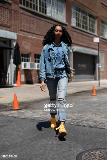 Hannah Stoudemire is seen on the street attending Men's New York Fashion Week wearing vintage Levis jacket Gap jeans and OBJ Air Force shoes on July...