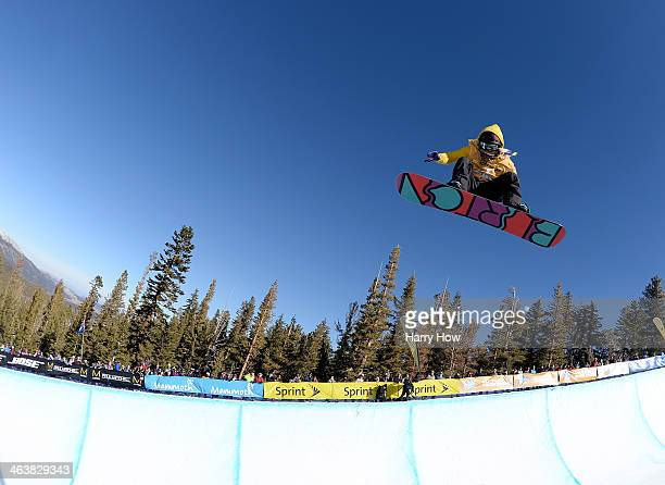 Hannah Teter competes to a third place finish during the Women's Halfpipe Final US Olympic Qualification at the 2014 Sprint US Snowboarding Grand...