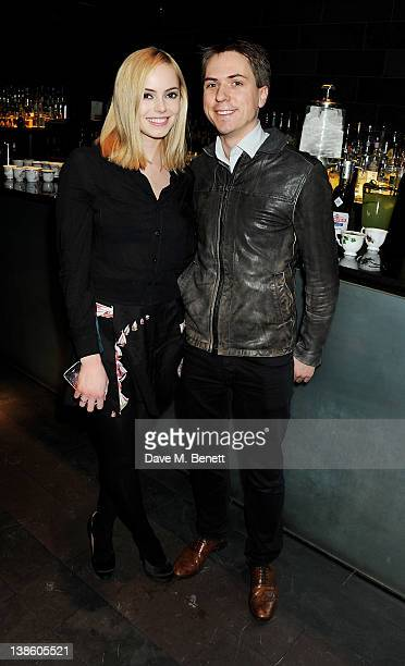 Hannah Tointon and Joe Thomas attend an after party celebrating the press night performance of 'Absent Friends' at Mint Leaf restaurant on February 9...