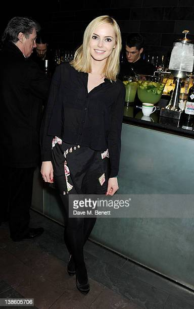 Hannah Tointon attends an after party celebrating the press night performance of 'Absent Friends' at Mint Leaf restaurant on February 9 2012 in...