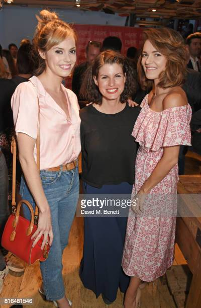 Hannah Tointon Jemima Rooper and Kara Tointon attend the press night party for 'Twilight Song' at The Park Theatre on July 17 2017 in London England