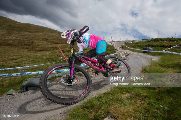 Hannah Tracey of Australia during qualifying for the Women's Downhill event at the UCI Mountain Bike World Cup on June 3 2017 in Fort William Scotland