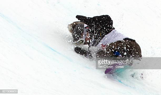 Hannah Trigger Australia falls badly off the lip of the half pipe injuring herself and requiring medical treatment during the Women's Half Pipe...