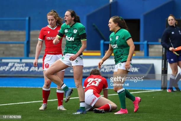 Hannah Tyrrell of Ireland celebrates after scoring their seventh try during the Women's Six Nations match between Wales and Ireland at Cardiff Arms...