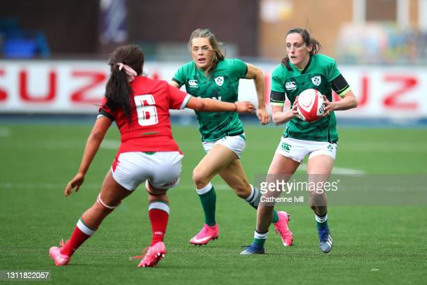 Hannah Tyrrell of Ireland makes a break during the Women's Six Nations match between Wales and Ireland at Cardiff Arms Park on April 10, 2021 in...