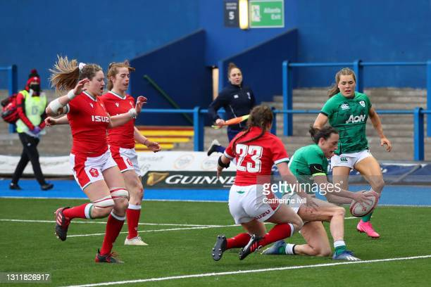 Hannah Tyrrell of Ireland scores their seventh try during the Women's Six Nations match between Wales and Ireland at Cardiff Arms Park on April 10,...