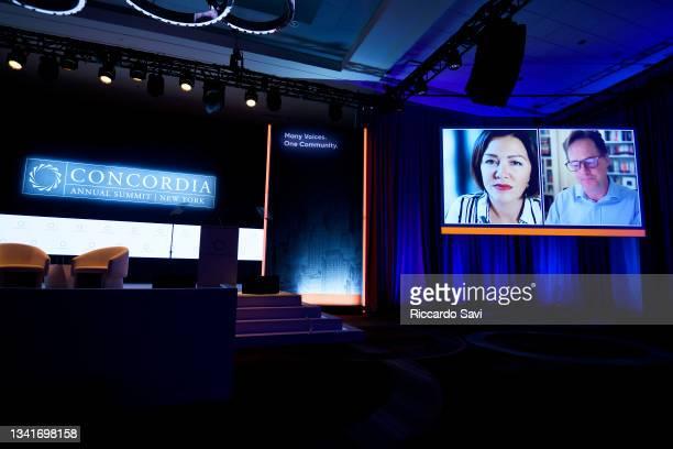 Hannah Vaughan Jones, Director / Broadcaster / Moderator, Self-Employed and Nick Clegg, Vice President of Global Affairs, Facebook speak onstage...