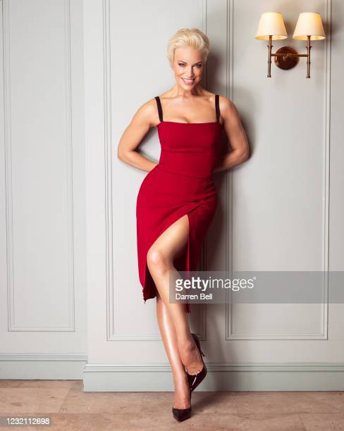Hannah Waddingham poses at Bingham Riverhouse in her award show look for the 27th Annual Screen Actors Guild Awards on March 25, 2021 in London,...