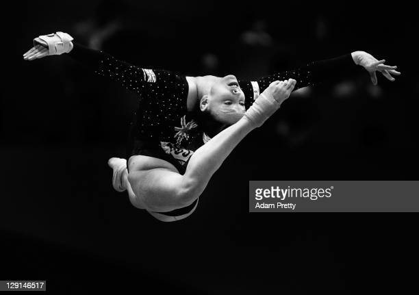 Hannah Whelan of Great Britain competes on the Floor aparatus of the Women's All Around Final during day seven of the Artistic Gymnastics World...