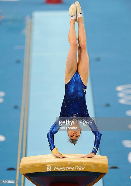 Hannah Whelan of Great Britain on the vault during qualification for the women's artistic gymnastics event held at the National Indoor Stadium during...