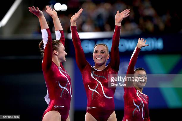 Hannah Whelan Ruby Harrold and Claudia Fragapane of England celebrate after coming firstsecond and third in the Women's AllAround Final at the SECC...