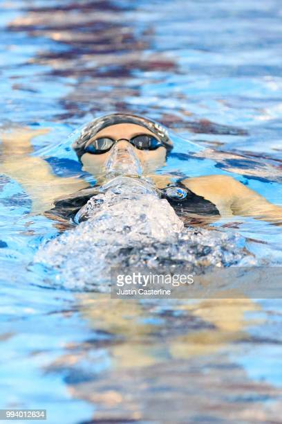 Hannah Whiteley competes in the women's 100m backstroke prelims at the 2018 TYR Pro Series on July 8 2018 in Columbus Ohio