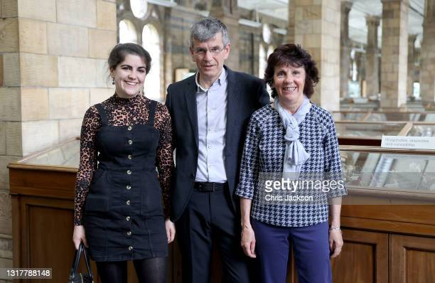 Hannah Wilcock, Rob Wilcock and Cathyrn Wilcock who discovered The Winchcombe meteorite pose for a photograph at the Natural History Museum on May...