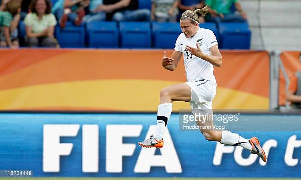 Hannah Wilkinson of New Zealand celebrates scoring the second goal during the FIFA Women's World Cup 2011 Group B match between New Zealand and...
