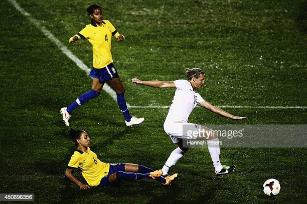Hannah Wilkinson of New Zealand makes a break during the Women's International friendly match between the New Zealand Football Ferns and Brazil at Mt...