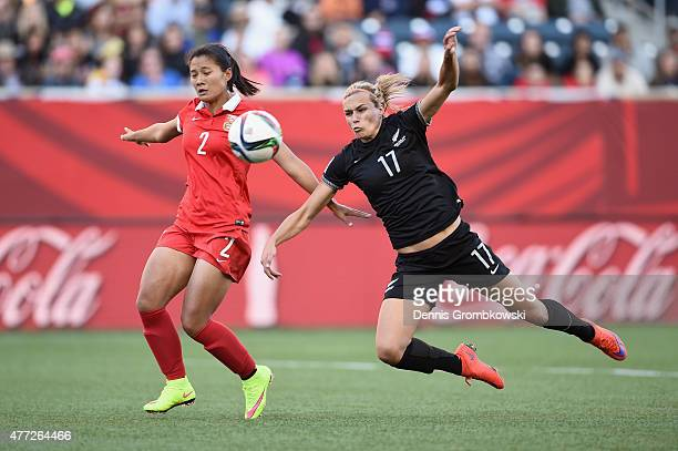 Hannah Wilkinson of New Zealand misses the ball against Shanshan Liu of China PR during the FIFA Women's World Cup Canada 2015 Group A match between...
