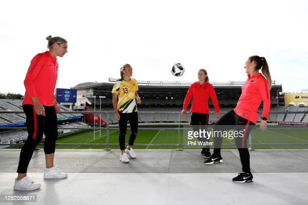 Hannah Wilkinson of New Zealand, Tameka Yallop of Australia, Paige Satchell of New Zealand and Annalie Longo of New Zealand pose after the...
