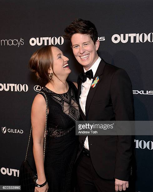 Hannah Willard and Amanda Dorsett attend the 2016 OUT100 Gala at Metropolitan West on November 10 2016 in New York City