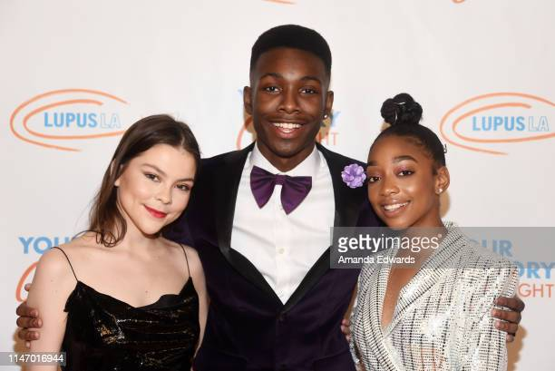 Hannah Zeile Niles Fitch and Eris Baker arrive at the Lupus LA Orange Ball 2019 at the Beverly Wilshire Four Seasons Hotel on May 04 2019 in Beverly...