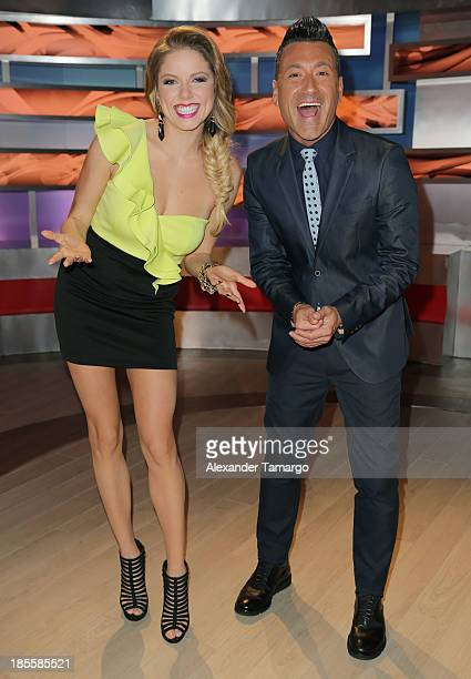 Hannaley and Jorge Bernal are seen on the set of the new Telemundo show 'Suelta La Sopa' on October 22 2013 in Miami Florida