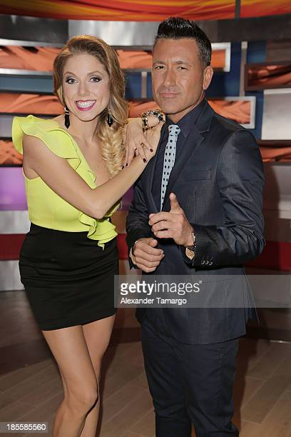 Hannaley and Jorge Bernal are seen on the set of the new Telemundo show Suelta La Sopa on October 22 2013 in Miami Florida