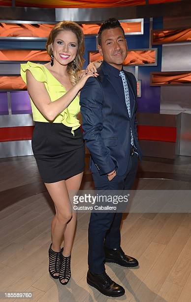 Hannaley and Jorge Bernal attend the launch of the new Telemundo show 'Suelta La Sopa' on October 22 2013 in Miami Florida