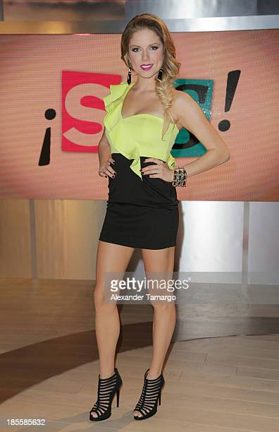 Hannaley is seen on the set of the new Telemundo show 'Suelta La Sopa' on October 22 2013 in Miami Florida