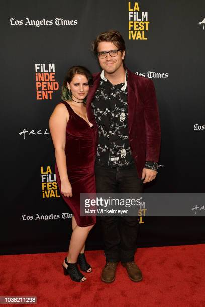 Hannalore GerlingDunsmore and Zack Guiler attend the 2018 LA Film Festival screening of Behind The Curve at ArcLight Hollywood on September 22 2018...