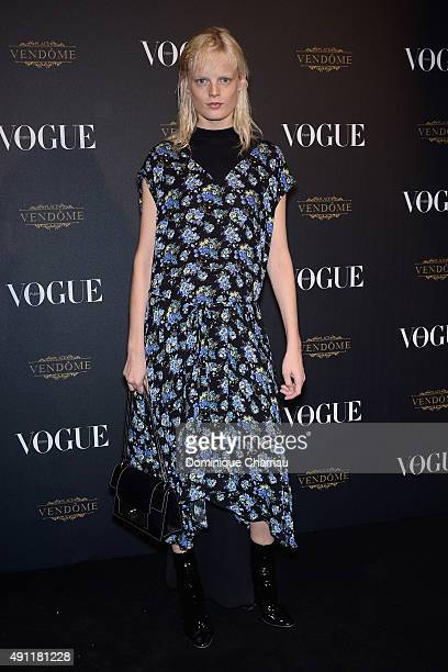 Hanne Gaby Odiele attends the Vogue 95th Anniversary Party Photocall as part of the Paris Fashion Week Womenswear Spring/Summer 2016 on October 3...