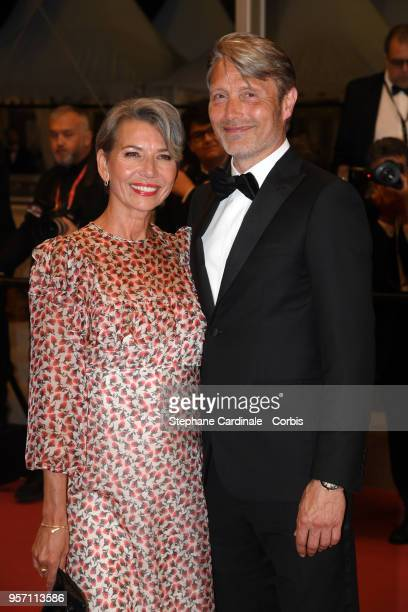 Hanne Jacobsen and actor Mads Mikkelsen attends the screening of Arctic during the 71st annual Cannes Film Festival at Palais des Festivals on May 10...