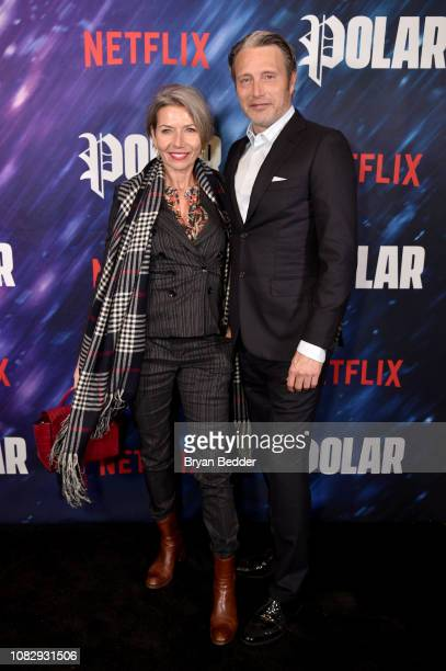 Hanne Jacobsen and Mads Mikkelsen attend the New York special screening of the Netflix film POLAR at The Roxy Cinema on January 14 2019 in New York...