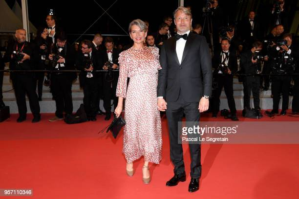Hanne Jacobsen and Mads Mikkelsen attends the screening of Arctic during the 71st annual Cannes Film Festival at Palais des Festivals on May 10 2018...