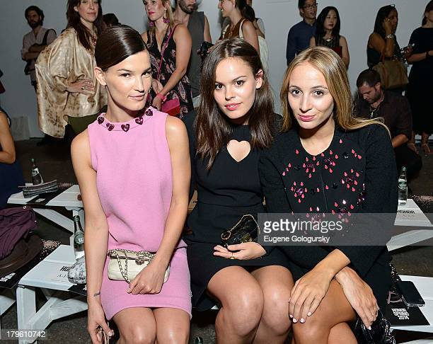 Hanneli Mustaparta, Harley Viera-Newton and Atlanta de Cadenet attend the Honor show during Spring 2014 Mercedes-Benz Fashion Week at Eyebeam on...