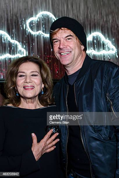 Hannelore Elsner and Campino attend the Wim Wenders Party during the 65th Berlinale International Film Festival at Claerchens Ballhaus on February 11...