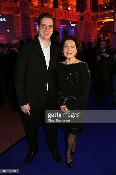 Hannelore Elsner and Dominik Elsner attend the Blue Hour Reception party at the Communication Museum on February 7 2014 in Berlin Germany