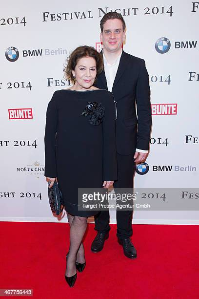 Hannelore Elsner and her son Dominik attend the Bunte BMW Festival Night 2014 at Humboldt Carree on February 7 2014 in Berlin Germany