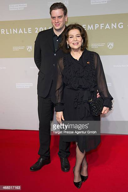 Hannelore Elsner and her son Dominik attend the NRW Reception at the Landesvertretung on February 9 2014 in Berlin Germany
