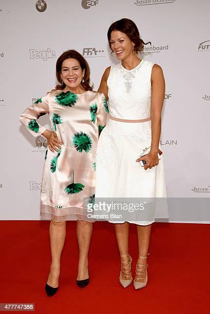Hannelore Elsner and Jessica Schwarz arrive for the German Film Award 2015 Lola at Messe Berlin on June 19 2015 in Berlin Germany