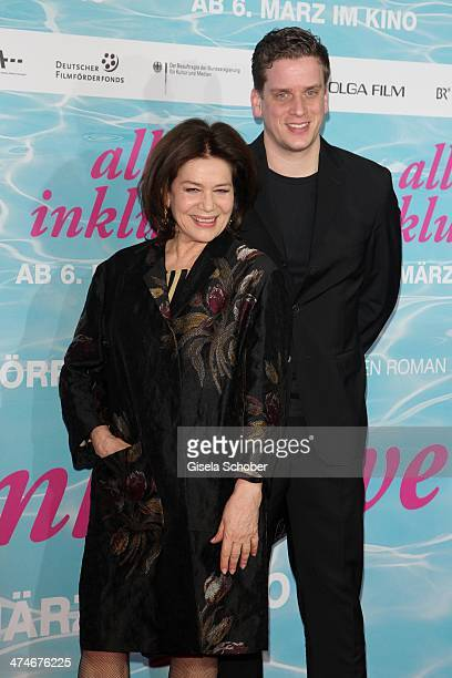 Hannelore Elsner and son Dominik Wedel attend the German premiere of the film 'Alles Inklusive' at Mathaeser Filmpalast on February 24 2014 in Munich...