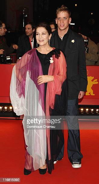 Hannelore Elsner attends the Cherry Blossoms Hanami premiere with her son Dominik during day five of the 58th Berlinale International Film Festival...