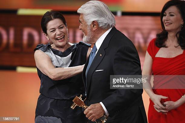 Hannelore Elsner Mario Adorf and Iris Berben seen on stage at the 47th Golden Camera Awards at the Axel Springer Haus on February 4 2012 in Berlin...